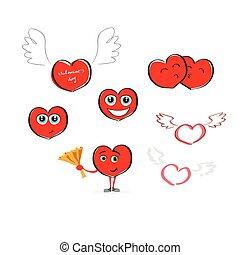 心, コレクション, 漫画, 手, 図画, 赤, アイコン