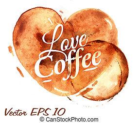 心, コーヒー, はね返し, 注ぎなさい, 引かれる