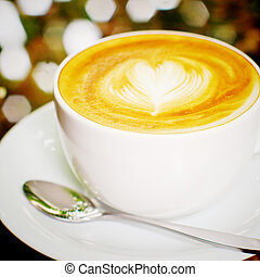 心, コーヒー, カプチーノ, 効果, latte, フィルター, レトロ, 形, ∥あるいは∥