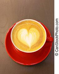 心, コーヒー, カプチーノ, latte, 形, ∥あるいは∥