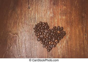 心, コーヒー, 作られた, 木製である, 形, 豆, surface.