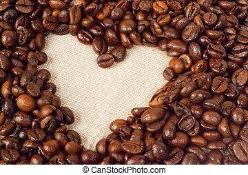 心, コーヒー, 取り決められた, 形, 豆
