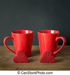心, コーヒー, 広場, ビロード, image., 上に, バレンタインデー, バックグラウンド。, 板, ケーキ, カップ, 構成, 赤, chalckborad
