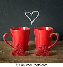 心, コーヒー, 広場, ビロード, image., 木製である, 上に, バレンタインデー, ケーキ, 板, chalckborad., カップ, 構成, 赤