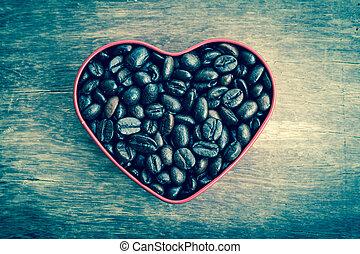 心, コーヒー, 形づくられた, 型, 効果, フィルター, スタイル, 豆, レトロ
