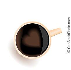 心, コーヒー, 愛, イラスト, カップ