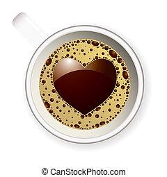 心, コーヒー, 愛, カップ