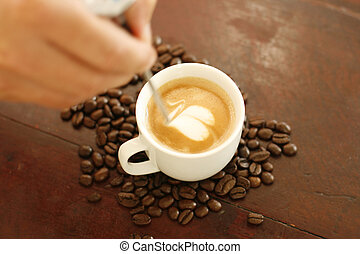 心, コーヒー, 芸術, barista, 形づくられた, 作成, design.