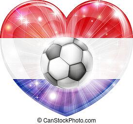 心, サッカー, netherlands 旗