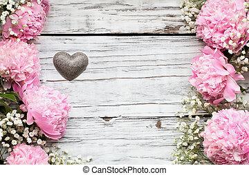 心, シャクヤク, 呼吸, ピンク, babys, 背景, 白い花, 上に, 木