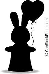 心, シリンダー, シルエット, balloon, 黒, うさぎ, マジック