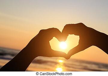 心, シルエット, のまわり, 太陽, シンボル, 手