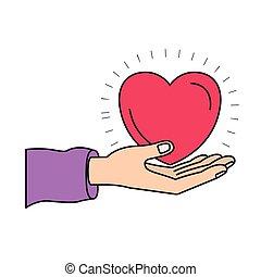 心, シルエット, カラフルである, 寄付, シンボル, 手, やし, 慈善