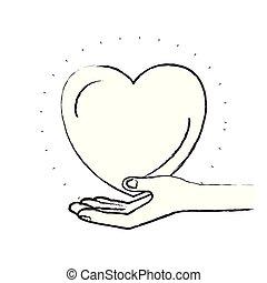 心, シルエット, 寄付, シンボル, 手, やし, ぼんやりさせられた, 慈善
