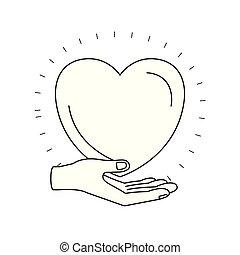 心, シルエット, 寄付, シンボル, 手, やし, 慈善