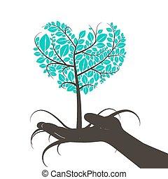 心, シルエット, 形づくられた, 木, 手, 人間