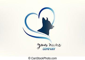 心, シルエット, 犬, ロゴ, 愛, アイコン