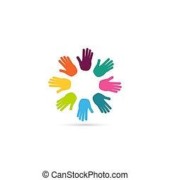 心, シンボル。, イラスト, ベクトル, 一緒に。, 手