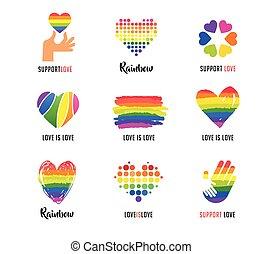 心, シンボル, ゲイである, コレクション, ロゴ, lgbt, 虹, 手, アイコン