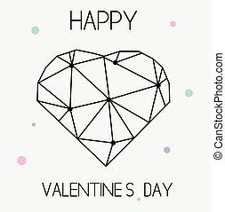 心, シンボル, バレンタイン, st., 芸術的, 幾何学的, 創造的, 日, カード