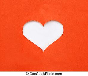 心, シンボル, 引き裂かれた, 形, ペーパー, 背景, 白, 上に, 赤