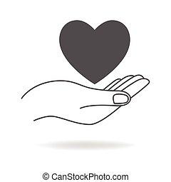 心, シンボル, 手を持つ