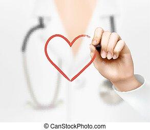 心, シンボル。, 手, vector., 医者の, 図画