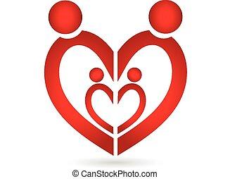 心, シンボル, 組合, ロゴ, 家族