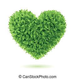心, シンボル, 緑は 去る