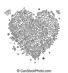 心, スケッチ, 形, デザイン, 花, あなたの