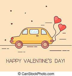 心, スタイル, 芸術, 旗, 形づくられた, 自動車, バレンタイン, 挨拶, 黄色, st., 背景, baloon., 日, カード, 線である
