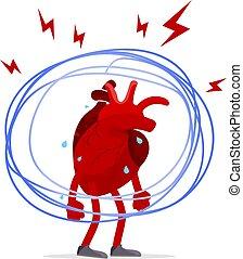 心, ストレス, 憂うつ, concept., 器官, 創造的, 人間