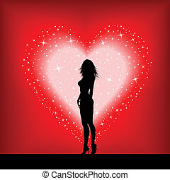 心, セクシー, 女性, 星が多い