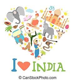 心, セット, インド, 形づくられた