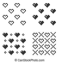 心, セット, パターン, seamless, バックグラウンド。, ベクトル, 白, ピクセル