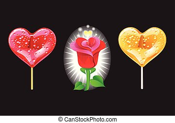 心, セット, ロマンチック, バラ, バレンタイン, day., 形, ベクトル, lollipops, black., 要素, illustration.