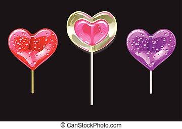 心, セット, ロマンチック, バレンタイン, day., 形, ベクトル, lollipops, black., 甘さ, illustration.