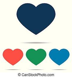 心, セット, 平ら, 単純である, -, 隔離された, 背景, ベクトル, デザイン, 白, アイコン