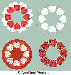 心, セット, 愛, 要素, デザイン, 円
