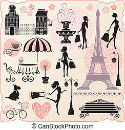 心, セット, 愛, 買い物, 買い物, テキスト, -, 家, calligraphic, 袋, シルエット, ファッション, 女の子, タワー, デザイン, 小売り, ∥あるいは∥, effel