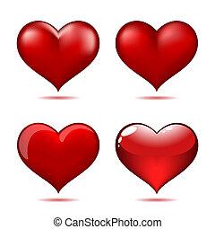 心, セット, 赤, 大きい