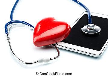 心, タブレット, 病気, 研究, 形, 聴診器, デジタル