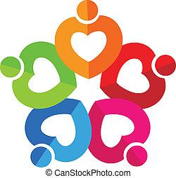 心, チームワーク, ロゴ