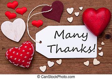 心, テキスト, ラベル, 赤, ありがとう, 多数