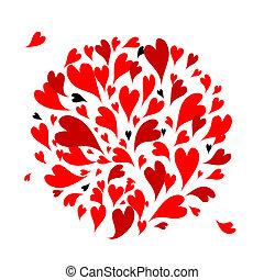 心, デザイン, あなたの, 背景, 赤