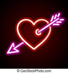 心, ネオン, 矢の 印