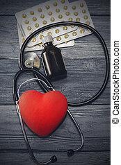 心, バックグラウンド。, 健康, 聴診器, 木製である, うそ