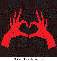 心, バックグラウンド。, 手, のように, seamless