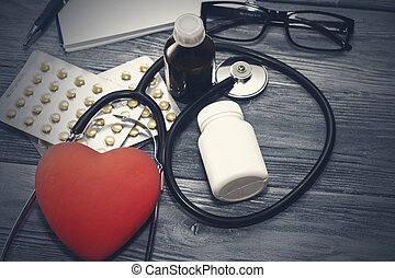 心, バックグラウンド。, 聴診器, 木製である, うそ, 健康