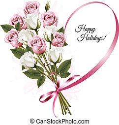 心, バラ, bouquet., ホリデー, 形, vector., リボン, 幸せ